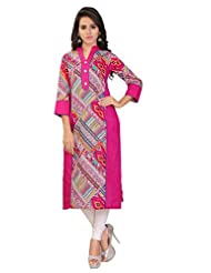 Firstloot Casual Wear 3/4 Sleeve Printed Cotton Women's Kurti-X-Large Size