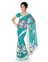 Designersareez Women Net Embroidered Teal Saree With Unstitched Blouse(1287)