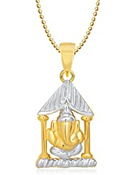Amaal Ganesha Ganpati God Pendant With Chain For Men,Women Gold Plated In American Diamond Cz Jewellery GP0233