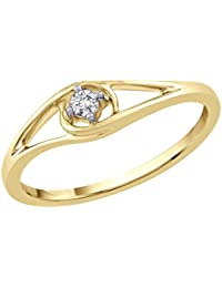 Kaizer Economica Majestic Solitaire Gold Plated American Diamond Ring For Women/Girls