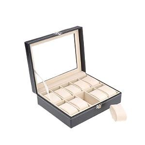 BestDealUSA 10 Grid Watches Display Storage Box Case Jewelry Fashion