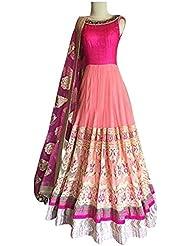 Aracruz Women's Clothing Designer Party Wear Low Price Sale Offer Pink Georgette & Net Free Size Semi Stitched...