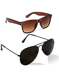 Unisex Uv Protected Combo Pack Of Aviator Sunglasses And Wyafarer Sunglasses ( Brown Wayfarer-Black Black ) (...