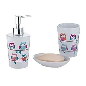 Set accessori da bagno in ceramica, design: Gufi, Multicolore: Amazon ...