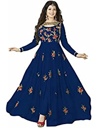 ARYAN FASHION Designer Beautiful Blue Flower Printed Long Anarkali Suit Semi-Stitched Suit ( Bottom Unstitched)