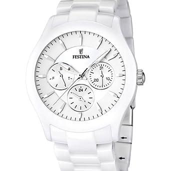 FESTINA F16639/1 - Reloj analógico de cuarzo unisex con correa de cerámica, color blanco