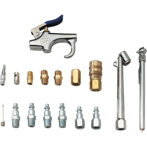 PowRyte Elite 20-Piece Air Hose Fittings 1//4 NPT Air Compressor Accessory Kit with Blow Gun Air Chucks 25Ft Air Hose and Brass Fittings Inflation Needles