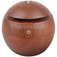 USB Aroma Therapy Ultrasonic Essential Oil Diffuser Spa Air Mist Vapor Purifier Brown Wooden Grain#2