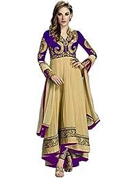 White World Womens Fabric Georgette Anarkali Suit (41_ Purple & Cream Suit_Cream_Freesize )