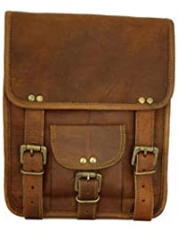 Pranjals House Genuine Vintage Brown Leather Handmade Messenger Bag Shoulder Bag Satchel / Ipad Bag Size L (10...