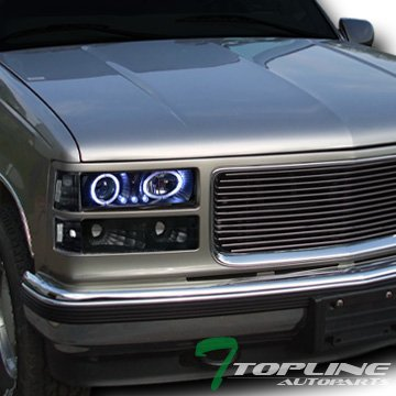 Blk Led Halo Projector Head Lights+Bumper+Corner Yd 1994-1999 C10 C/K Truck/Suv