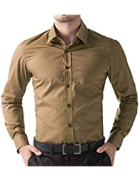 Oshano Mens Casual Beige Full Sleeves Button Down Cotton Shirt