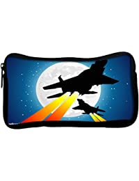 Snoogg Moon And Jet Fighters Poly Canvas Student Pen Pencil Case Coin Purse Utility Pouch Cosmetic Makeup Bag