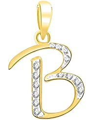 """Kaizer Economica Alphabet Collection Initial Letter """"B"""" Gold And Rhodium Plated Pendant With Diamond Sparkle For..."""