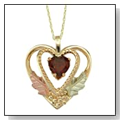 Golden Heart Garnet Pendant