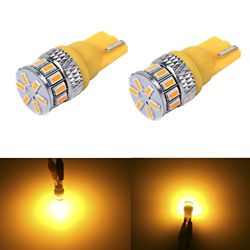 JDM ASTAR Extremely Bright 3014 Chipsets 194 168 2825 W5W T10 LED Bulbs, Amber Yellow( Interior Use Only)