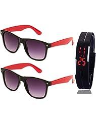 BLACK RED WAYFARER SUNGLASSES AND BLACK RED WAYFARER SUNGLASSES WITH TPU BAND RED LED DIGITAL BLACK DIAL UNISEX...