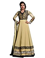 Beige Georgette Anarkali Suit With Bottom And Dupatta