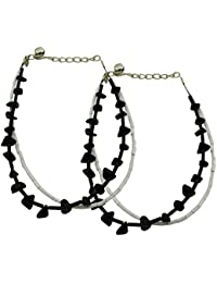High Trendz Classy Black And White Beads Anklet For Women And Girls