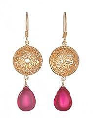Amethyst By Rahul Popli Red Gold Plated Dangle & Drop Earrings