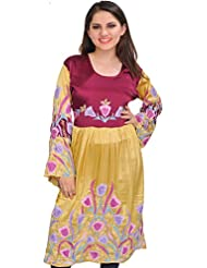 Exotic India Magenta-Purple And Golden Dress From Kashmir With Ari-Embroi - Gold