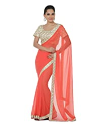 Oomph! Georgette Patch Work Saree With Blouse Piece