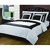 Luxury 5-PC Black with white 300 Thread Count King/Cal king Duvet Cover Set 100 % Egyptian Cotton comforter cover set with matching pillow shams By sheetsnthings
