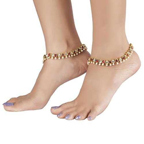 The Jewelbox Antique Traditional Ruby Pearl Kundan Look Payal Anklet Pair 30cm