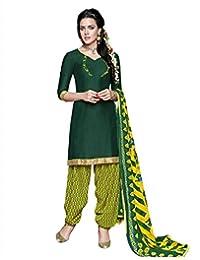 Green Magnificent Chanderi Cotton Patiala Unstitched Suit