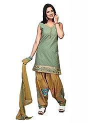 Green Cotton Straight Salwar Kameez For Ladies