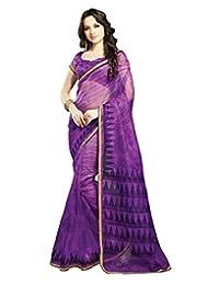 IndiWeaves Women Super Net Printed Purple Saree - B00VPXBXX4