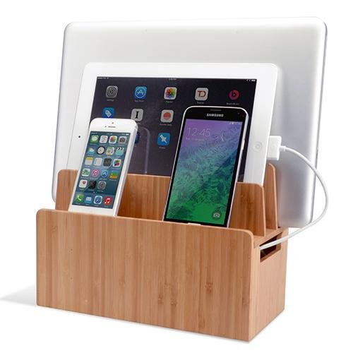 charging station organizer bamboo universal multi device cord organizer stand and 29409