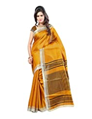 Kajal Sarees Women's Art Silk Self Print Saree (PS_219, Yellow)
