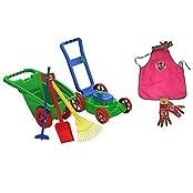 Kids Or Toddler Pretend Play Toys Lawn Mower,Garden Cart/Wheelbarrow,Hoe,Rack And Shovel Outdoor/Indoor Plastic... - B018N8GTWS