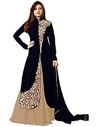 Royal Export Women's Bangalori Silk Black Beige Anarkali Semi-Stitched Salwar Suit