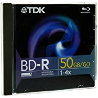 TDK 49022 Blu-ray Dual-Layer Write-Once Disc 50GB 4x BD-R Branded Jewel Case BD-R50B