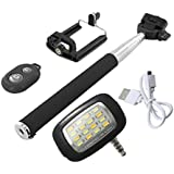 Novo Style Bluetooth Wireless Remote Shutter Selfie Stick - Black With 16 LED Selfie Night Flash Light Accessory...