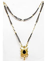 DollsofIndia Black And Golden Bead Gold Plated Mangalsutra - Stone And Metal - Black