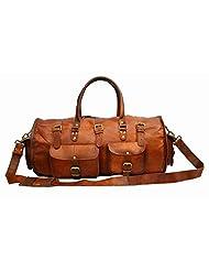 HIDE 1858 TM Genuine Leather Travel Luggage Bag Extra Large Dark Tan