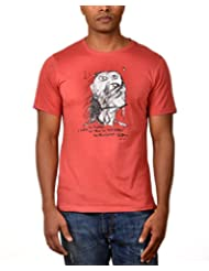 Kuroki Be Myself - Mens Coral Colour Round Neck Tshirts