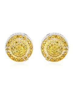 Genuine Morne Rouge (TM) Earrings. 0.6 Ctw Diamonds Gold Plated Silver Earrings. 4.9 Grams in Weight and 10 mm in Length. 100% Satisfaction Guaranteed.