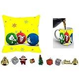 MeSleep Merry Christmas Cushion Cover In Digital Print, Mug And Christmas Decoration Combo - B018KARRGQ