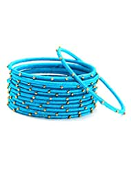 Bindhani Turquoise Thread & Gold Plated Set Of 12 Bangle Ring,Size 2-4