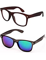 Sheomy Unisex Combo Pack Of Transparent Brown Wayfarer Sunglasses And Black Mercury Wayfarer Sunglasses For Men...