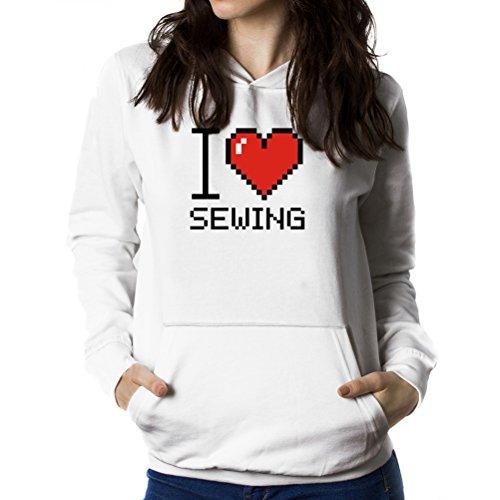 I love Sewing pixelated Women Hoodie