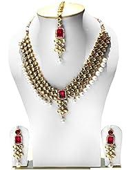 Shining Diva Traditional Kundan Necklace Set / Jewellery Set With Maang Tikka & Earrings For Women / Girls