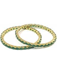 Jewelshingar Jewellery Gold Plated American Diamond Bangles For Women ( 14476-jb-green-p )