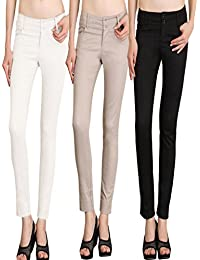NGT Womens Formal White, Beige And Black Trouser In Special Quality.
