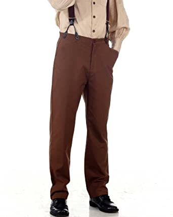 Steampunk Pants Mens Steampunk Victorian Costume Classic Trousers Pants-Brown  AT vintagedancer.com