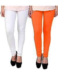 BrandTrendz White And Orange Cotton Pack Of 2 Leggings